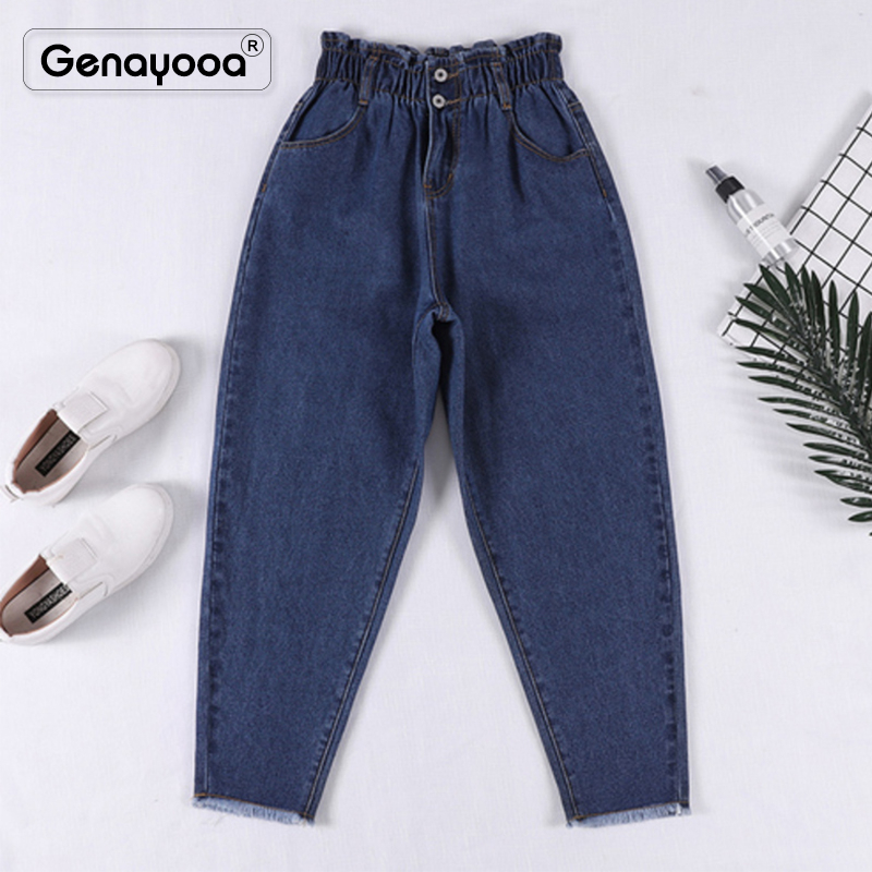 Genayooa High Waisted Boyfriends Jeans For Women Loose Pencil Jeans Woman Plus Size  Elastic Waist Pants Big Size Jeans Woman