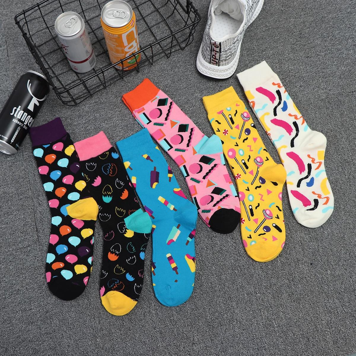 PEONFLY Harajuku Funny Socks Food Hamburg/Pizza/Sushi Cute Socks Women Divertidos Milk Creative Life Sokken Chaussette Femme