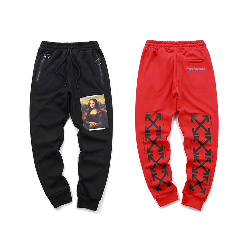 Off OWF White New Style Popular Brand Figure Oil Painting Arrowhead Printed Men And Women-Sports Casual Beam Leg Sweatpants