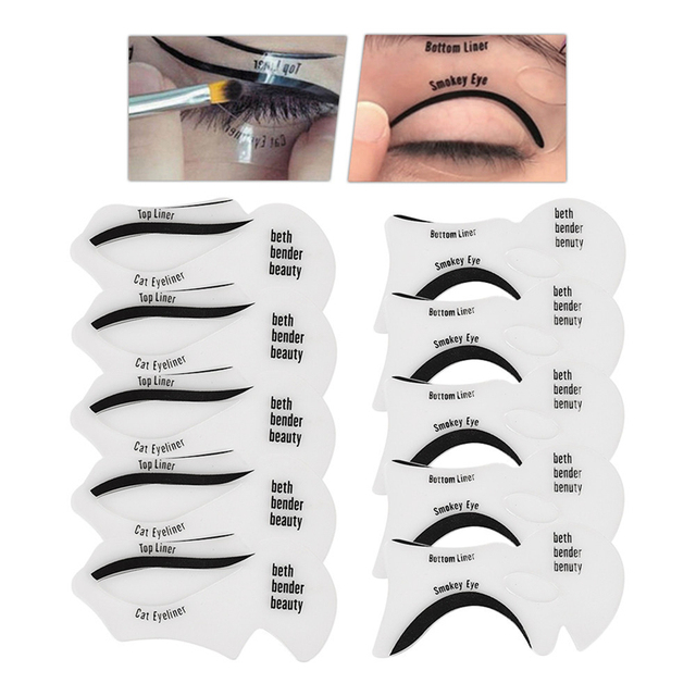Eyeliner Eye Shadow Stencils 10PCS/Set Winged Eyeliner Stencil Models Template Shaping Tools Eyebrows Template Card Makeup Tool 4
