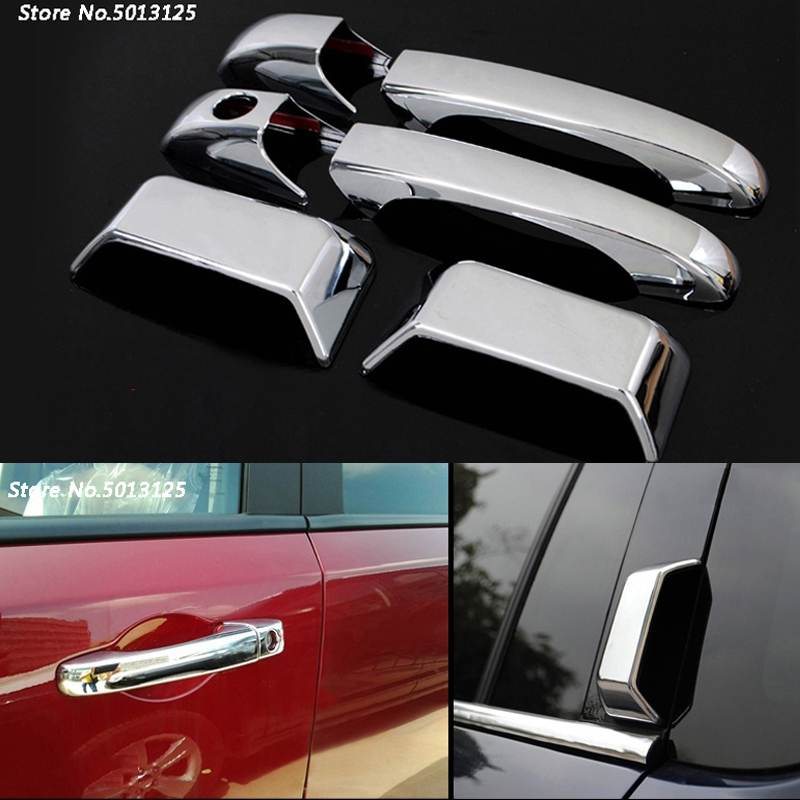 Car ABS <font><b>Chrome</b></font> handle Protective Cover Door Handle Cover Exterior Trim For <font><b>Jeep</b></font> <font><b>Compass</b></font> 2011 <font><b>2012</b></font> 2013 2014 2015 Car Accessories image