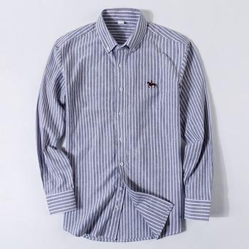 100% Cotton Oxford Plaid Solid Color Striped Shirt Tops Casual Long Sleeve Shirt Slim Fit Shirt Men Camisa Social Korean Clothes