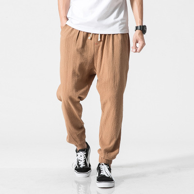 Origional Japanese-style Retro Chinese-style MEN'S Wear Large Size Cotton Pants Thin Solid Color Casual Ankle Banded Pants Loose