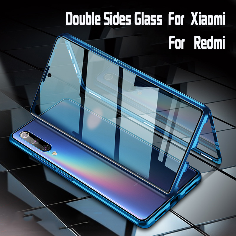 Magnetic Adsorption Metal Case for Xiaomi 10 9 Lite 9T Pro CC9 A3 Double sided Tempered Glass Redmi 10X Note 9S 9 8 7 Pro 8T F1(China)