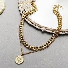 Long collier multicouches Vintage pour femmes, pièce de monnaie, croix, ras du cou, bijoux de déclaration