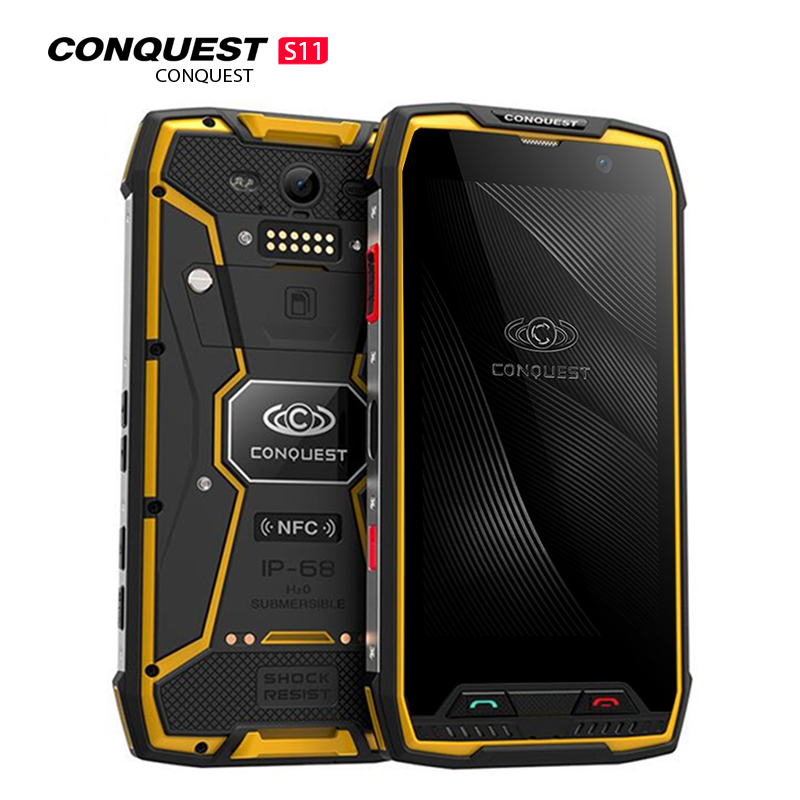 Conquest S11 IPS Android 7.0 4G Smartphone IP68 Waterproof 6GB 128 GB Mobile Phone 7000mAh POC NFC Cellphone MT6757V Octa Core