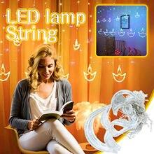 Cortina de luz da corda led lanternas decorativas luzes de cortina sta-rry festival luzes de cortina corda casamento quarto decorativo d4