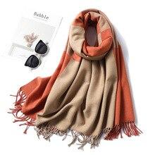 Écharpe dhiver pour Femme, écharpe à carreaux en cachemire, épaisse, chaude, Pashmina, solide, châle, Cape noire, pour dame, collection 2020