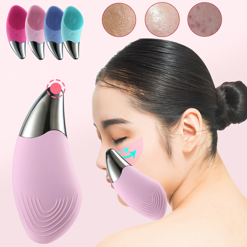 Electric Silicone Facial Scrubber Cleansing Brush Devicefor Deep Cleaning Waterproof Rechargeable Face Brush Girl Creative Gift