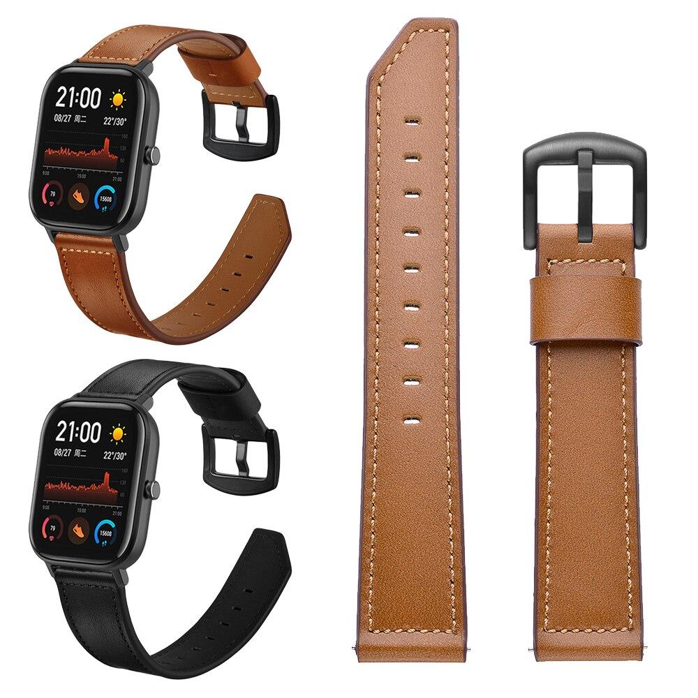 Braun Schwarz Lederband für Xiaomi Huami Amazfit GTS/Bip lite/Amazfit GTR Stratos 3 Handgelenk Band Armband armband 22 20mm