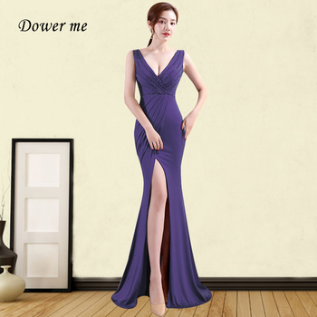 Purple Mermaid Evening Dress GDX379 Solid Ruched Women Party Dresses Double V-Neck Sleeveless Robe De Soiree Formal Long Gowns