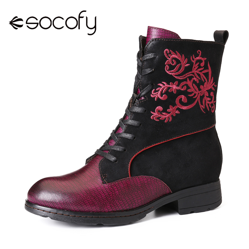SOCOFY Retro Elegant Embroidery Genuine Leather Stitching Comfy Soft Ankle Boots Elegant Shoes Women Shoes Botas Mujer 2020