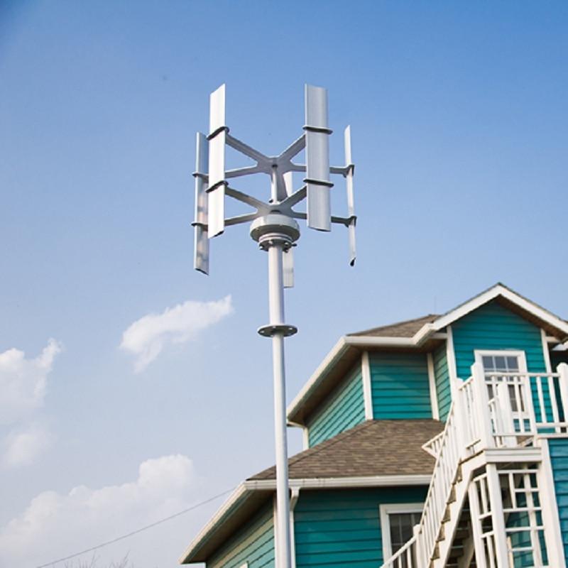 Mini générateur Vertical d'éolienne d'axe 10W 12VDC générateur de moulin à vent Max 15w 5 lames de haute qualité pour la rue de ménage