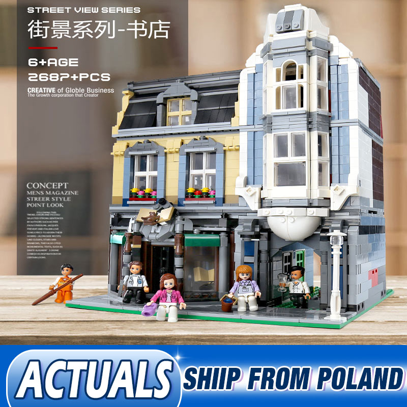 DHL City Street View Series Corner European Style Bookstore Model MOC <font><b>10270</b></font> Building Block Bricks Kids Toys Gifts image
