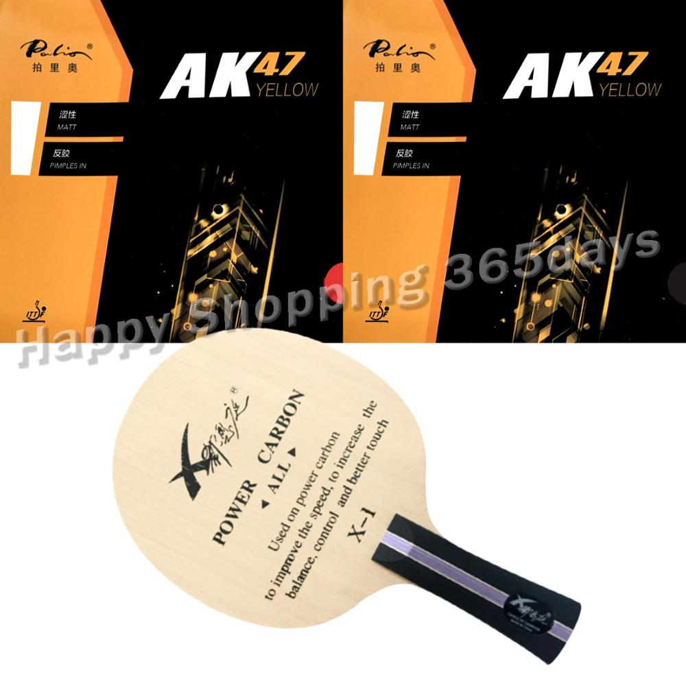 Pro Combo Table Tennis Racket XI EN TING Professional POWER Carbon With 2 Pieces Palio AK47 YELLOW