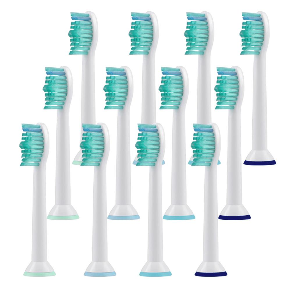 12Pcs Replacement Toothbrush Heads With Cap For Philips Sonicare Diamond Clean,ProResults, ProtectiveClean,DailyClean Brush Head