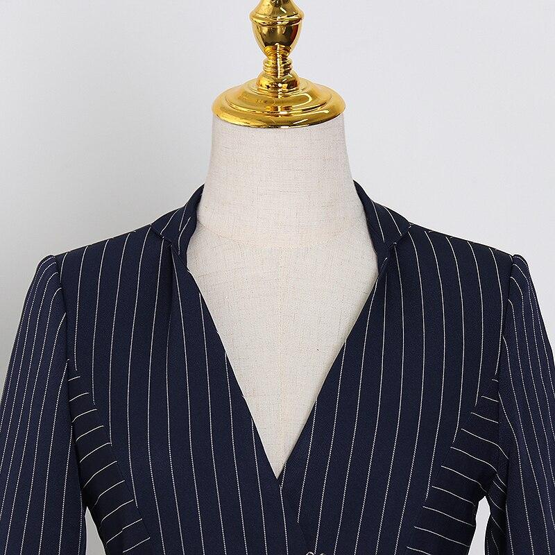 TWOTWINSTYLE elegante raya Patchwork blazer con volante con muesca manga de llamarada de Color de golpe fajas traje femenino primavera moda nuevo 2020 - 3