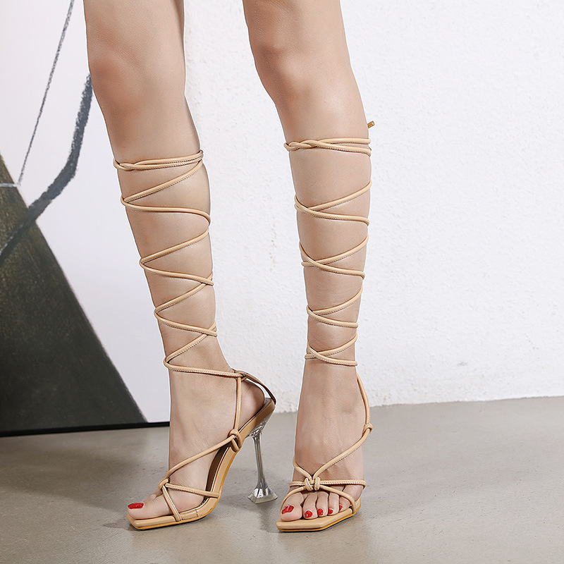 2021 New Women's Shoes Transparent Wine Cup Heel High Heels Sandals Lace-up Sexy Summer Sandal Gladiator Sandalias Boots Pumps