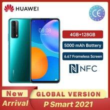 Huawei P Smart 2021 4GB 128GB NFC 48 MP Quad Camera 5000 mAh bateria 6.67 bezramowa ekran Мобильный телефон с быстрой зарядкой