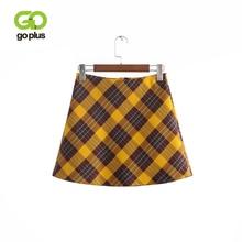 GOPLUS 2019 Streetwear Fashion Sexy Autumn Winter Yellow High Waist Plaid Skirt Womens A-line Skirts Bodycon Mini Short