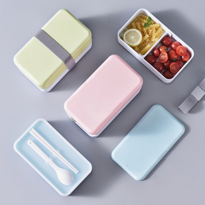 1200ml Double Layer Cute Lunch Bento Tiffin Plastic Box Portable LunchBox for Food Kids Picnic Office School Lunch-Box BPA Free