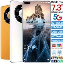 Küresel sürüm Mate40pro + 7.3 inç Smartphone android 10.0 yüz kimlik cep telefonu MTK6889 çift SIM kart cep telefonu
