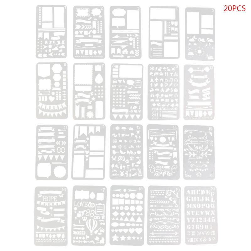 20Pcs Bullet Journal Stencil Set Plastic Planner DIY Drawing Template Diary Decor Craft M5TB