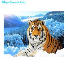 Tiger in Winter-pintura de diamante de bosque nevado, mosaico redondo completo, bordado, punto de cruz, patrón de animales escénico