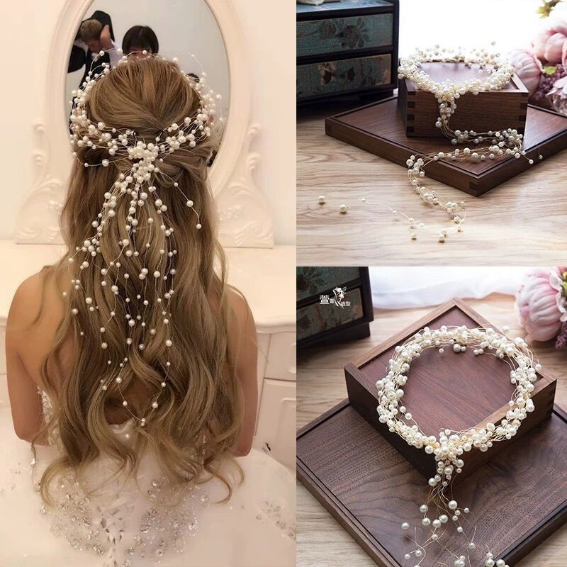 Gold Pearl Headband Tiara Wedding Hair