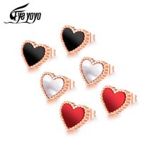 EyeYoYo White/Black/Red Small Heart Earring For Women Stainless Steel Boucles d oreille Femme