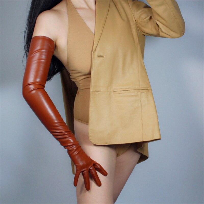 Extra Long Leather Gloves 70cm Long Section Emulation Leather Sheepskin Coffee Dark Brown Caramel Bronze Female PU Gloves WPU73