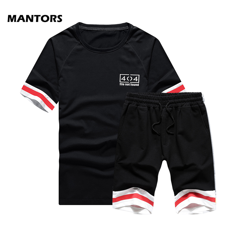 Men Striped Tracksuit Fashion Mens Sets Summer Sets Gym Bodybuilding Sportswear Brand 2 Piece Set T-Shirt+Shorts Casual Suits