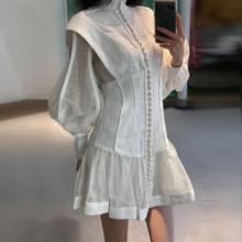 2020 high-end vestidos de pista de moda personalizado estereoscópico corte botão delgado com mangas bolha vestido de senhoras