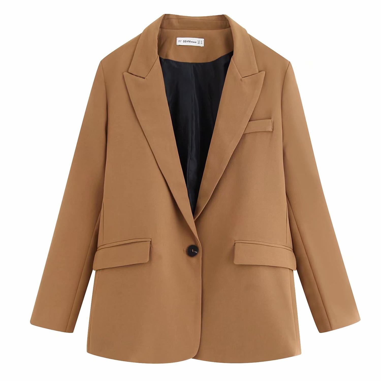High Quality Khaki Casual Single Blazer Women Top Single Linen Button Pocket Full Sleeve Top Stylish Office Lady Coat Femme Suit
