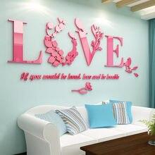 Amor acrílico 3d estéreo adesivos de parede parede tv fundo da parede quarto cabeceira adesivos decoração do layout do quarto casamento
