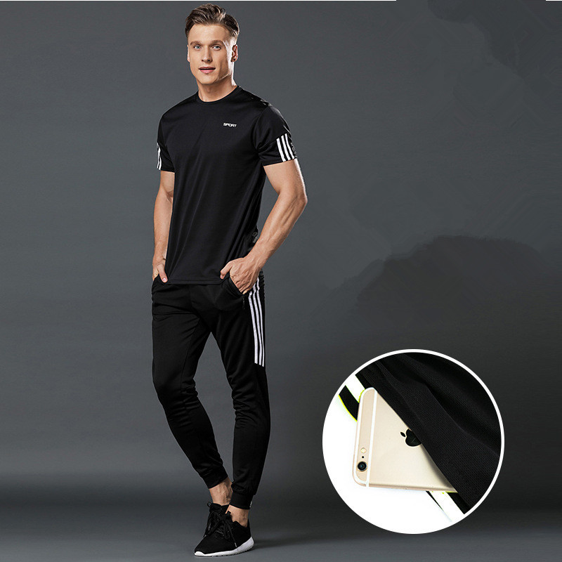 running - 3 Pcs/Sets Sports T-Shirt Men's Suits Running Shrits+Sports Shorts+Jogging Pants Mens Sportswear Suit Soccer Play Gym Sets New