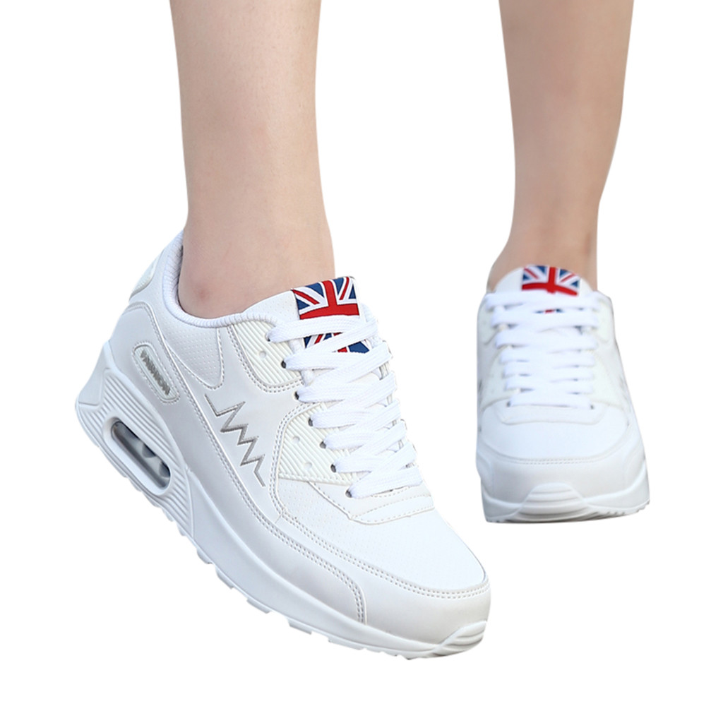 Ladies Fashion Women Breathable Lace Up Sport Shoes Walking Cushion Sneakers Lace Up Shoes Athletic Running Shoes Girls Black