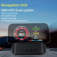HUD+OBD HD Car Head up Display with GPS Navigation Bluetooth Windshield Speed Projector Security Alarm