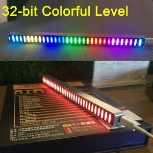 32-битный индикатор уровня звука, Светодиодный Измеритель сердечного ритма, музыкальная лампа спектра светильник + пульт дистанционного упр...