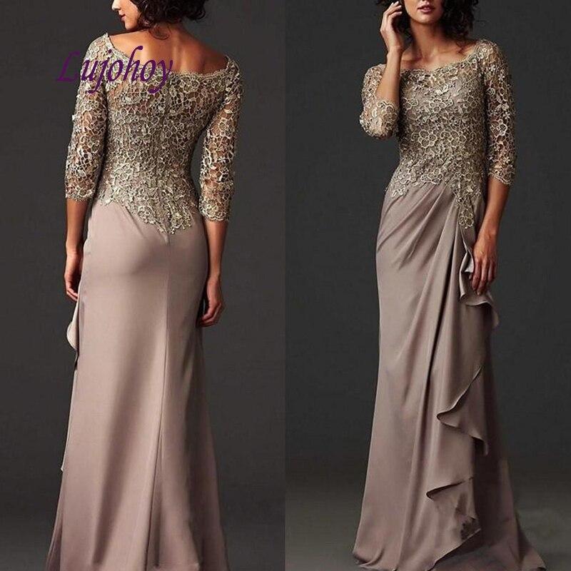 Manches longues dentelle mère de la mariée robes de grande taille pour les mariages marraine marié dîner robes de soirée robes