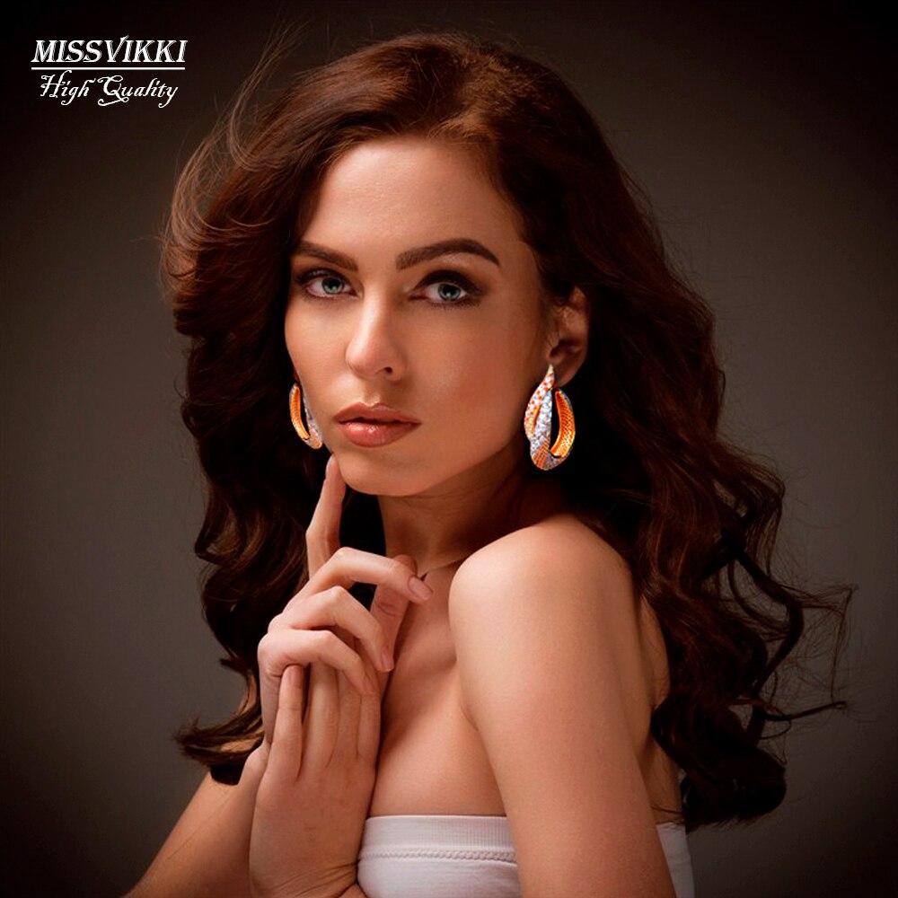 missvikki Luxury Twist Belicate Luxury Brand Cubic Zircons Copper Long Earrings Women Bridal Wedding Dress Accessories