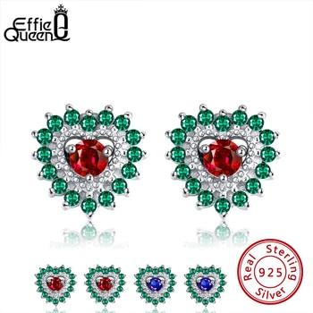 Effie Queen Luxury Heart Shape Silver 925 Colorful Stone Stud Earring with AAAA Zircon Earrings Jewelry Party Wedding Gift BE251