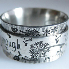 Modyle New Fashion Punk Vintage Silver Color I am Enough Letter Wedding Ring for Men Women Couple Jewelry Anniversary Gift