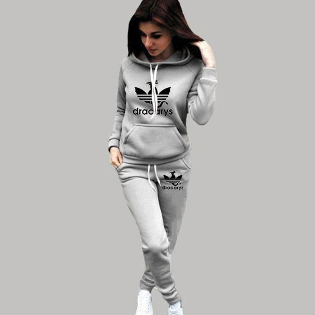 2019 Autumn Winter 2 Piece Set Women Hoodie Pants Printed Tracksuit Pullover Sweatshirt Trousers With Pockets Tracksuit Suits 4