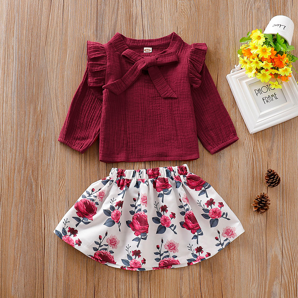 Newborn Toddler Baby Girl Skirts Sets,Kids Infant Floral T Shirts Top A-line Skirt Outfits Clothing Set