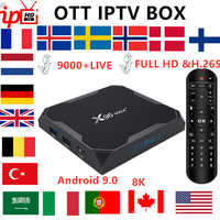 Francese Iptv Box X96 Max + Android Tv Box 9.0 + 8K Abbonamento Iptv Svezia Belgio Europa Regno Unito Spagna usa M3U Adulto Xxx Smart Tv Box