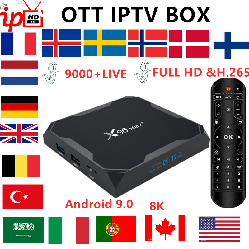 French IPTV BOX X96 MAX+ Android TV Box 9.0+ 8K IPTV Subscription Sweden Belgium Europe UK Spain USA  M3U Adult Xxx Smart Tv Box