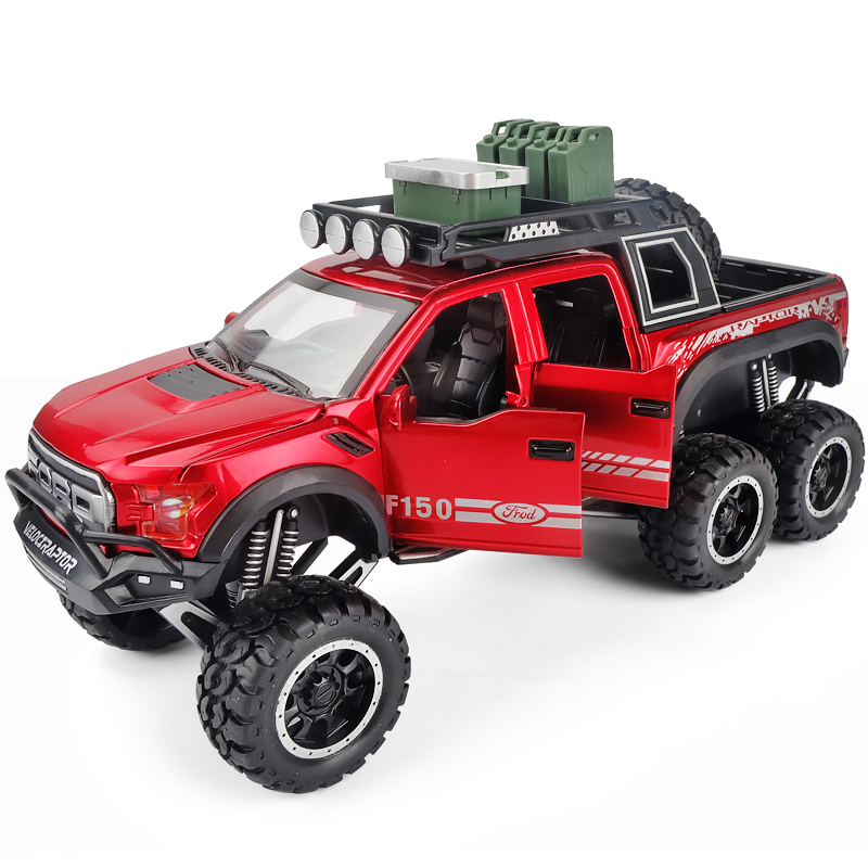 1:28 Diecast FORD RAPTOR F150 SUV Metal Model Car Toy Wheels Alloy Vehicle Sound And Light Pull Back Car Boy Kid Toys Vw Model