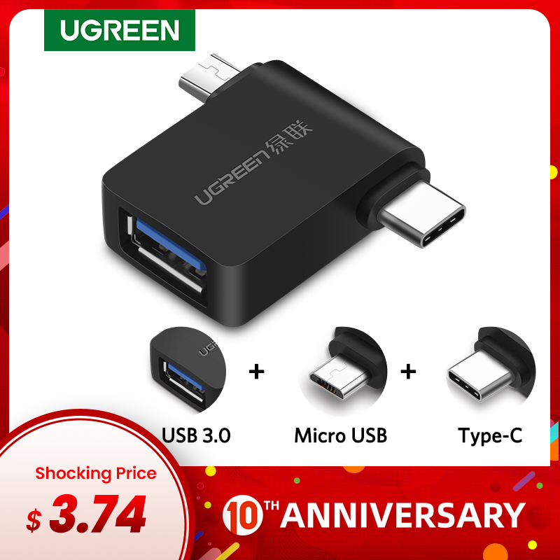 Ugreen OTG Adapter 2 In 1 Micro USB Type C To USB 3.0 Type-C Adapter For Samsung Galaxy S10 Macbook USB C OTG Adapter For Huawei