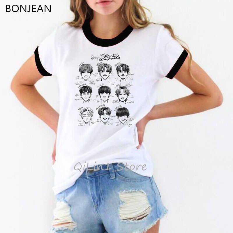 Bezpańskich dla dzieci kpop tshirt kobiety koreański ubrania StrayKids śmieszne koszulki z krótkim rękawem Hip Hop Harajuku tshirt hipster top koszulkę femme